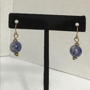 Blue Marbling Ball Drop Earrings